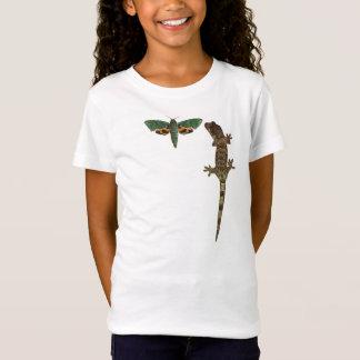 T-Shirt De l'enfant moussu mite et de gecko verts de soie