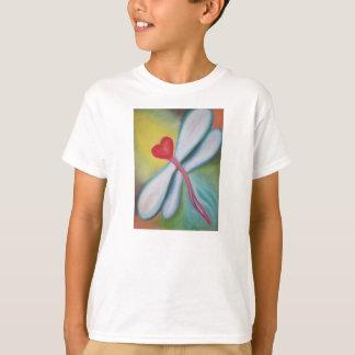 T-shirt de libellule de coeur