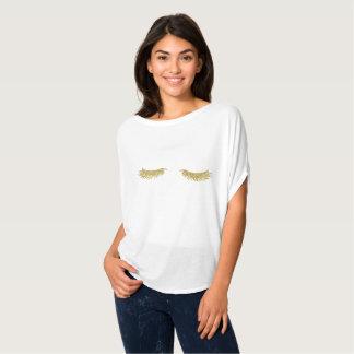 T-shirt de maquillage de cils d'or pour des femmes