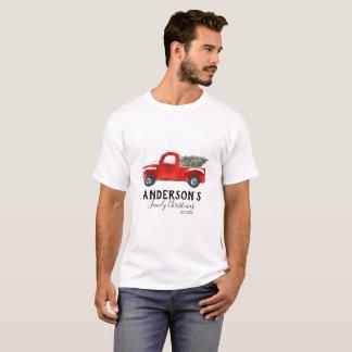 T-shirt de Noël de famille - camion rouge vintage