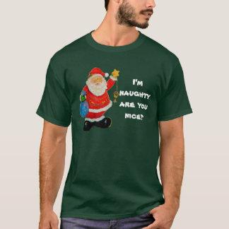 T-shirt T-shirt de Noël des hommes vilains ou Nice, vert