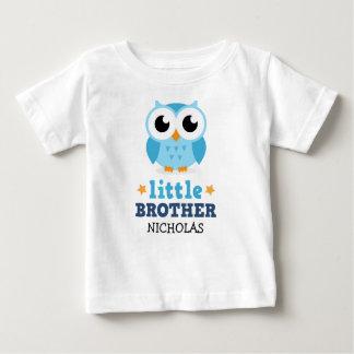T-shirt de petit frère, hibou bleu et nom de