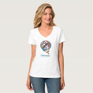 T-shirt de V-Cou de sirène de Hashtag