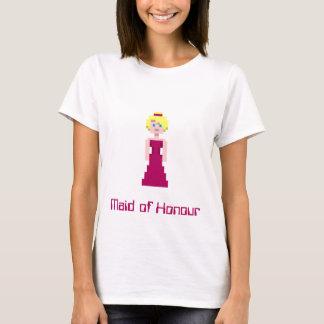 T-shirt Demoiselle d'honneur de pixel - rouge foncé