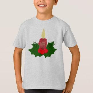T-shirt d'enfants de bougie et de houx