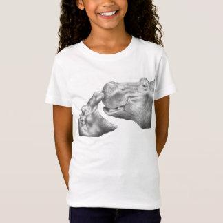T-shirt d'enfants d'hippopotame et de veau