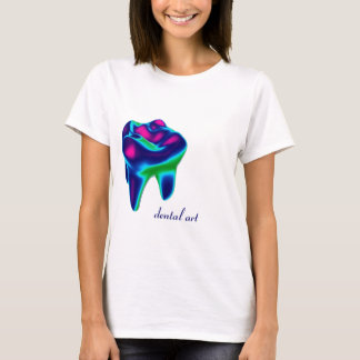 T-shirt dentaire de dentiste d'art de dent bleue