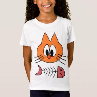 T-Shirt dessin puéril de chat et de poissons