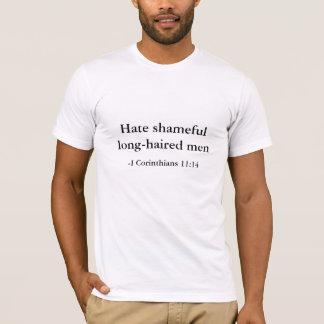 T-shirt Détestez les hommes aux cheveux longs honteux,