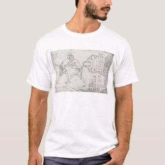 T-shirt Deux lutteurs, plan d'une église cistercienne