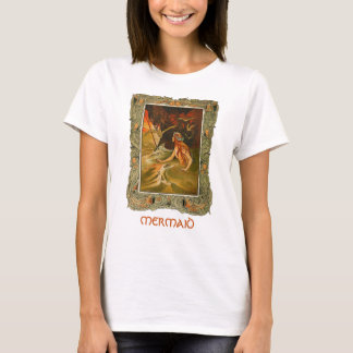 T-shirt d'illustration d'art encadré par sirène