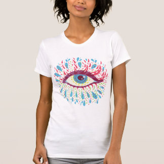 T-shirt D'oeil psychédélique bleu étrange