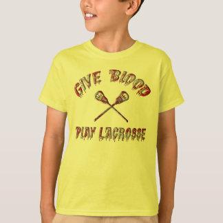 T-shirt Donnez le sang, tee - shirt de lacrosse de jeu