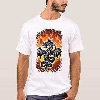 T-shirt Dragon avec des flammes à l'arrière-plan