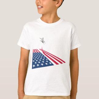 T-shirt Drapeau américain avec le décollage d'avion de