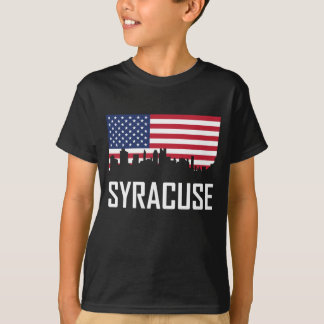 T-shirt Drapeau américain d'horizon de Syracuse New York