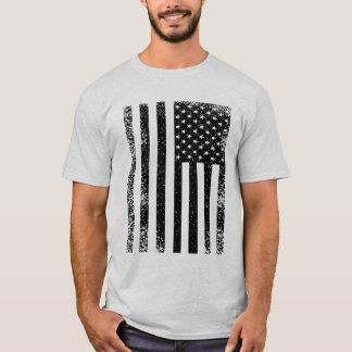 T-shirt Drapeau américain noir et blanc affligé