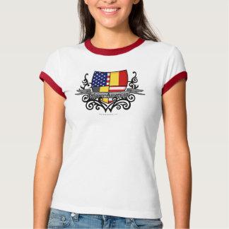T-shirt Drapeau Belge-Américain de bouclier