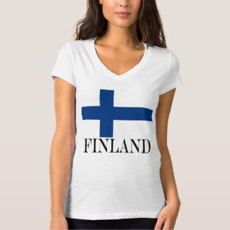 T-shirt Drapeau de la Finlande Suomi croisé bleu