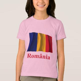 T-shirt Drapeau de ondulation de la Roumanie avec le nom