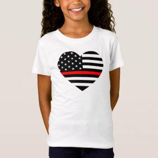 T-Shirt Drapeau de sapeur-pompier de soutien de coeur