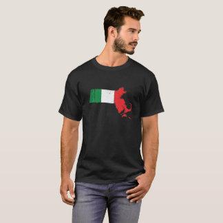 T-shirt Drapeau italien au-dessus du Massachusetts