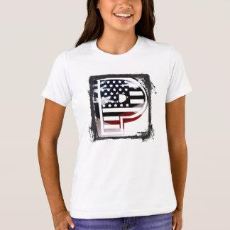T-shirt Drapeau patriotique des Etats-Unis d'initiale de