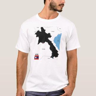 T-shirt drapeau politique de carte de pays du Laos