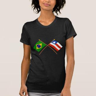 T-shirt Drapeaux croisés du Brésil et du Bahia