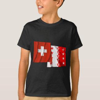T-shirt Drapeaux de ondulation de la Suisse et du Valais