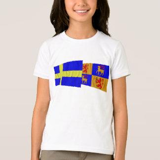 T-shirt Drapeaux de ondulation de län de la Suède et du