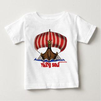T-shirt drôle de bébé de bateau de Viking