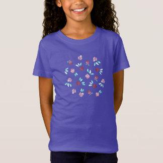 T-shirt du Jersey de filles de fleurs de trèfle