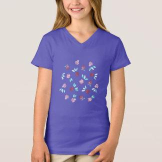 T-shirt du V-Cou de filles de fleurs de trèfle