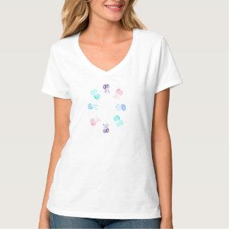 T-shirt du V-Cou des femmes de méduses