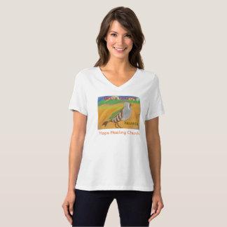 T-shirt du V-Cou des femmes du Nevada d'oiseau de