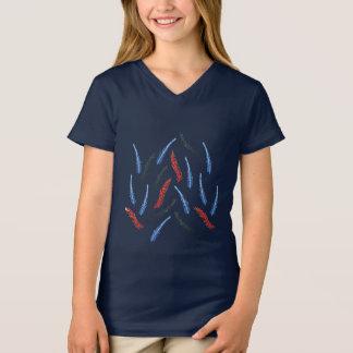 T-shirt du V-Cou des filles de branche