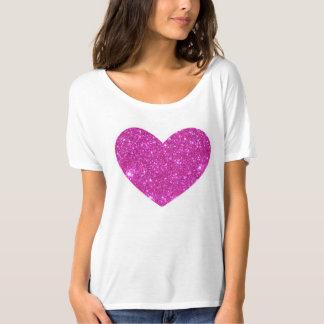 T-shirt éclatant rose de coeur d'étincelle