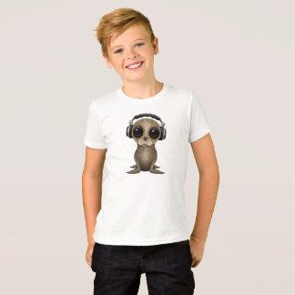 T-shirt Écouteurs de port mignons d'otarie de bébé