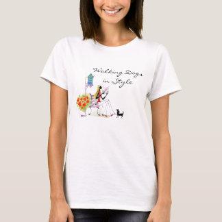 T-shirt élégant de marcheur de chien