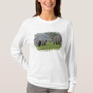 T-shirt Éléphant africain femelle avec le bébé, Loxodonta