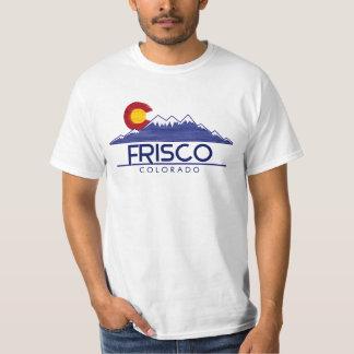 T-shirt en bois de montagnes de drapeau de Frisco