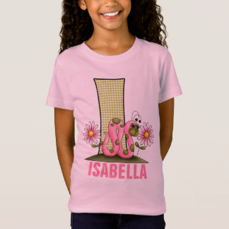 "T-Shirt Enfants ""je"" monogramme arpenteuse rose et verte"