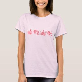 T-shirt Espèce marine rouge de corail de poulpe et de