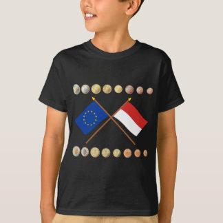 T-shirt Euros de Monagesque et drapeaux d'UE et du Monaco