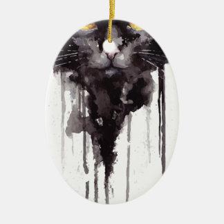 T-shirt fâché de chat ornement ovale en céramique