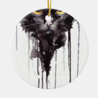 T-shirt fâché de chat ornement rond en céramique