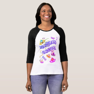 T-shirt Féminin Branca Raglan Carnaval du Brésil