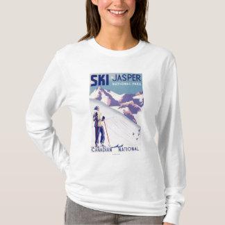 T-shirt Femme posant l'affiche ouverte de pentes