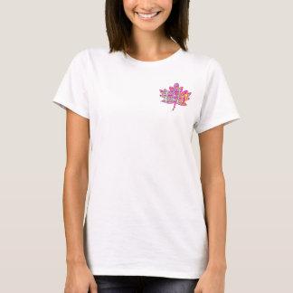 T-shirt Feuille d'érable rose florale - Canadien fier